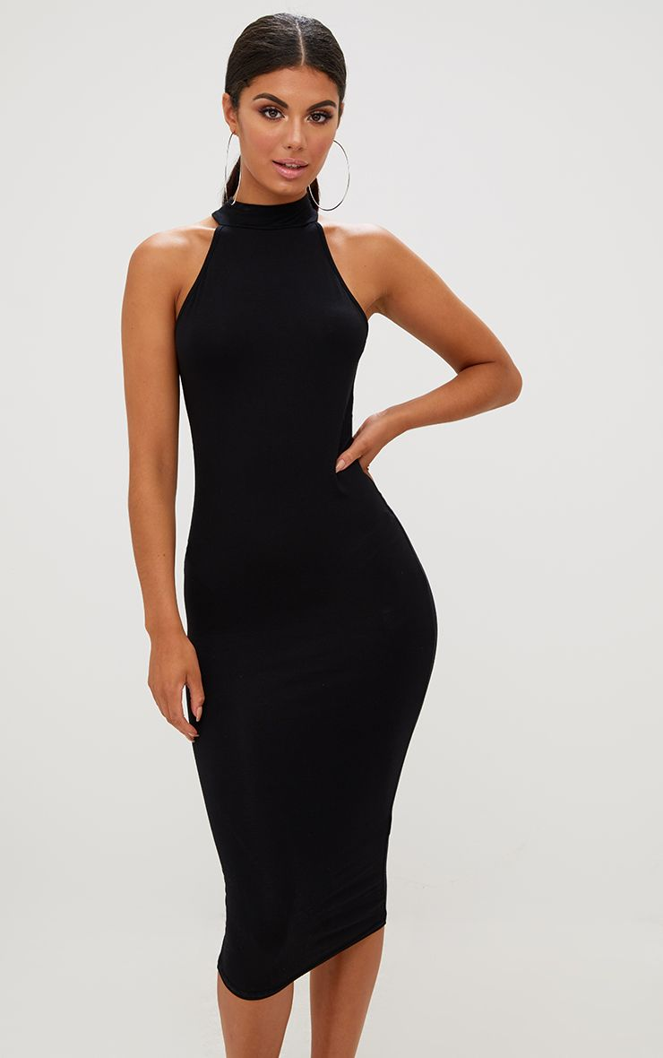 Black High Neck Midi Dress