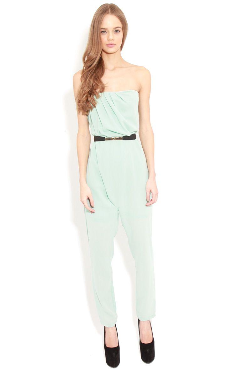 Ellie Mint Strapless Jumpsuit With Belt  1