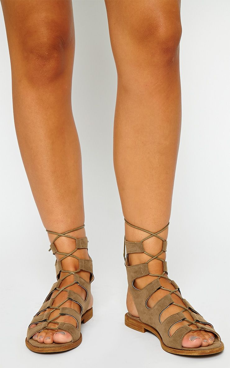 Lanna Taupe Suede Lace Up Gladiator Sandals 1