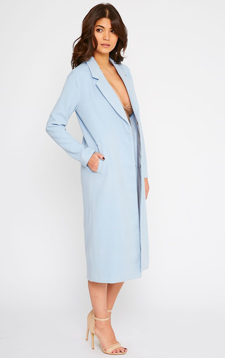 Salana Blue Longline Double Breasted Coat 1