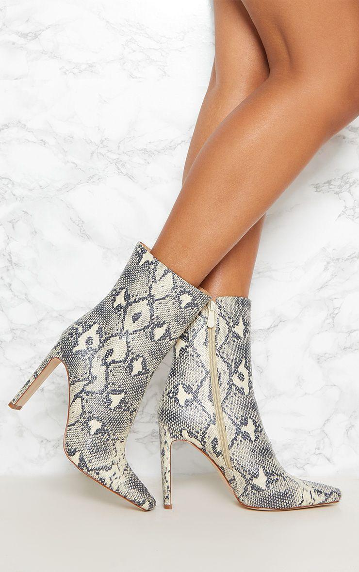 Beige Snake Print Flat Heel Ankle Boot