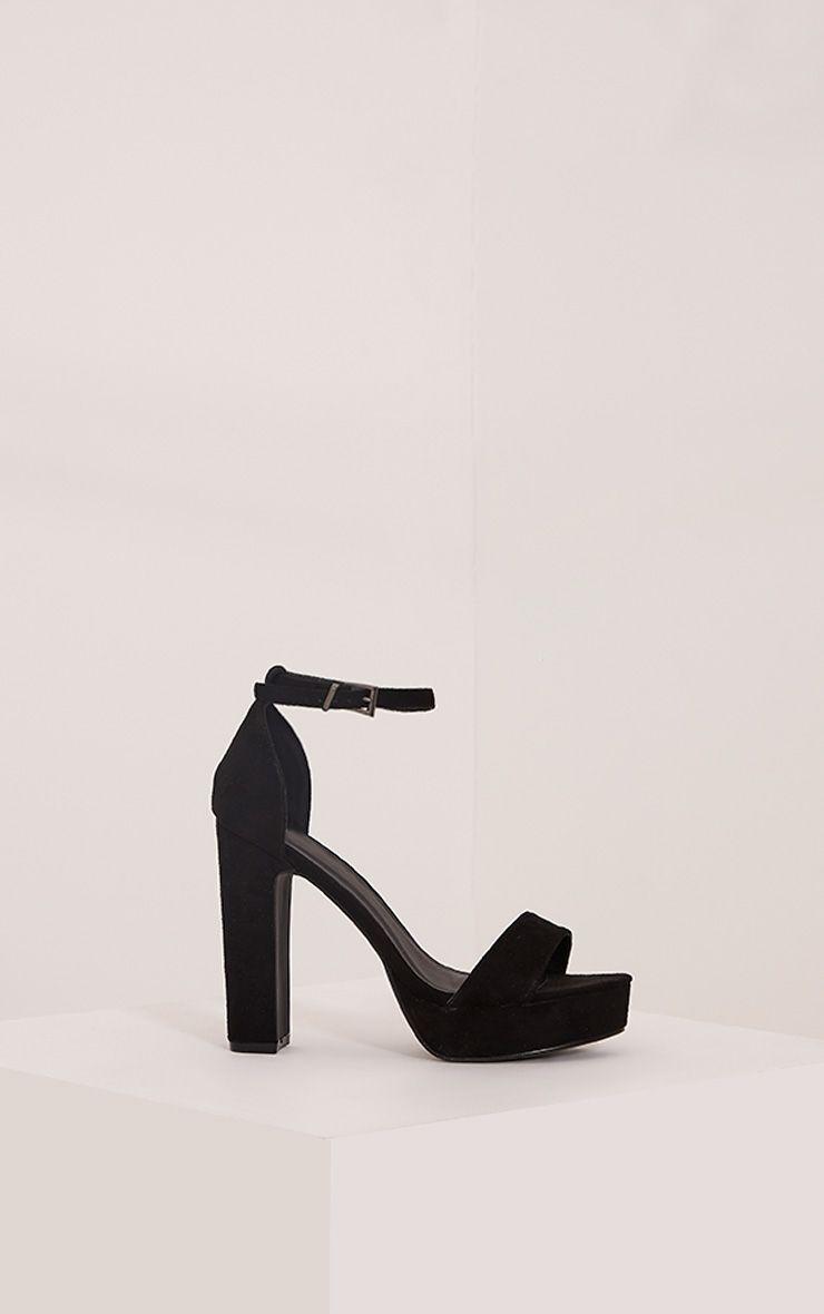 Taya Black Faux Suede Platform Sandals