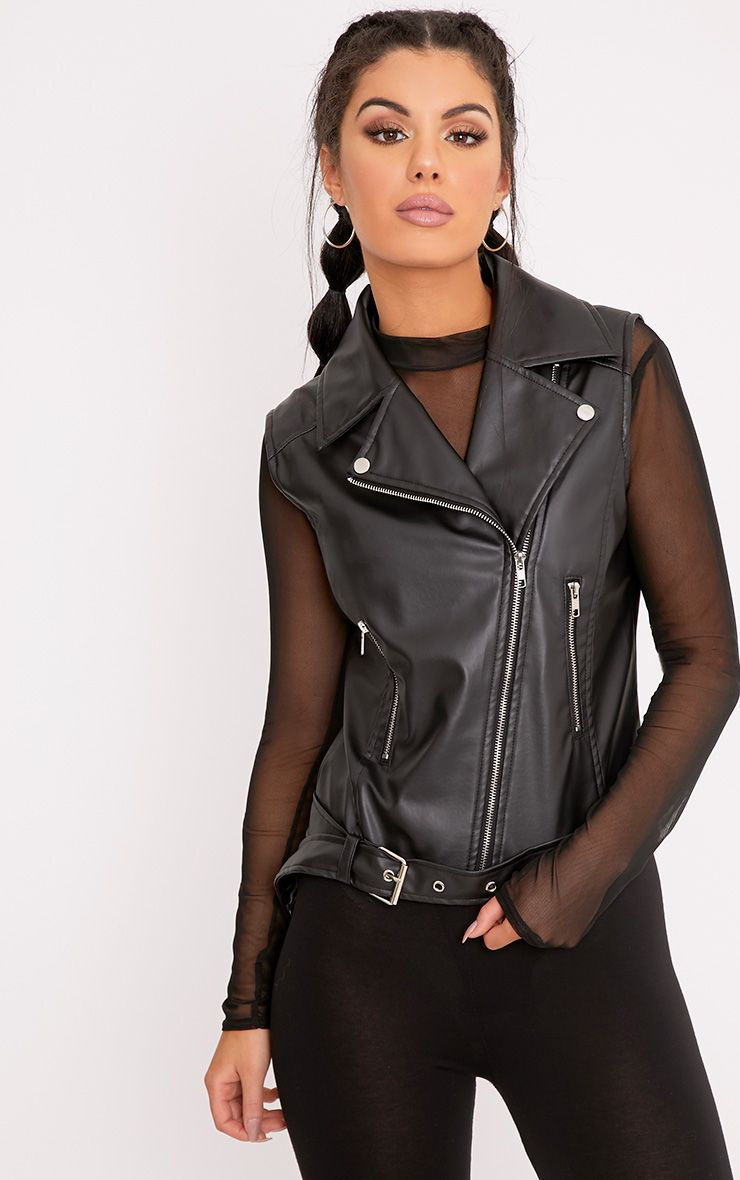 Oria Black PU Sleeveless Biker Jacket