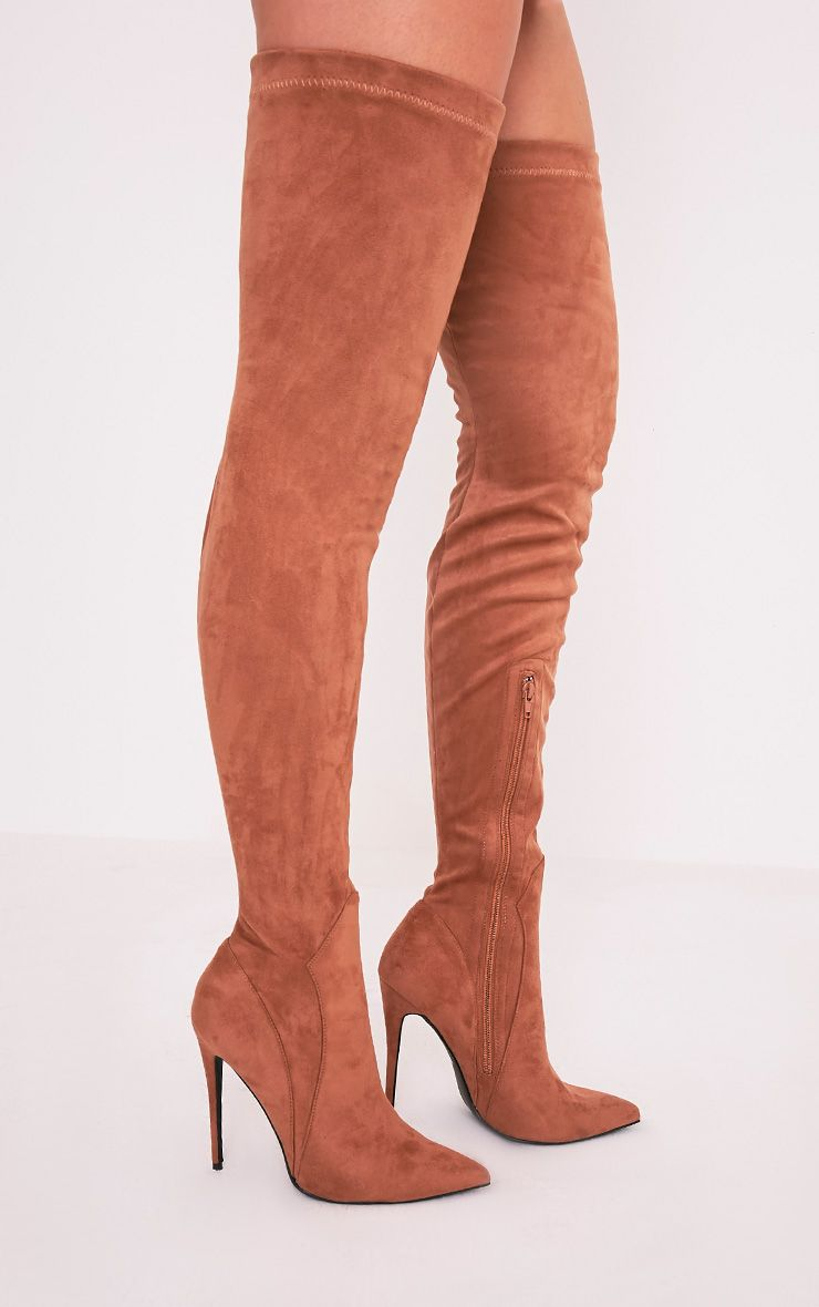 Emmi Camel Faux Suede Extreme Thigh High Heeled Boots