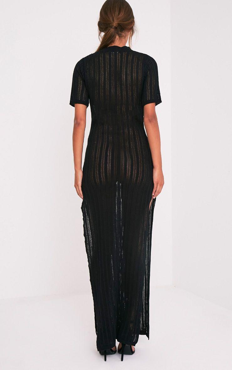 Zaria robe maxi tricotée à rayures noire 3