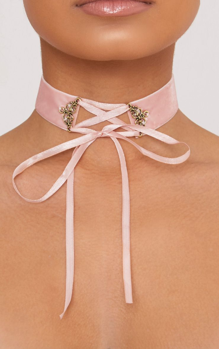 Maxime Blush Velvet Lace Up Choker