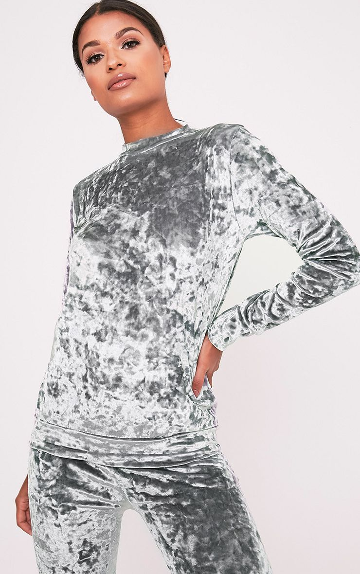 Cate Grey Crushed Velvet Long Sleeve Sweater  1