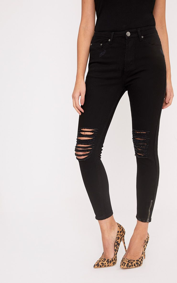 Black Double Bum Rip High Waisted Skinny Jean