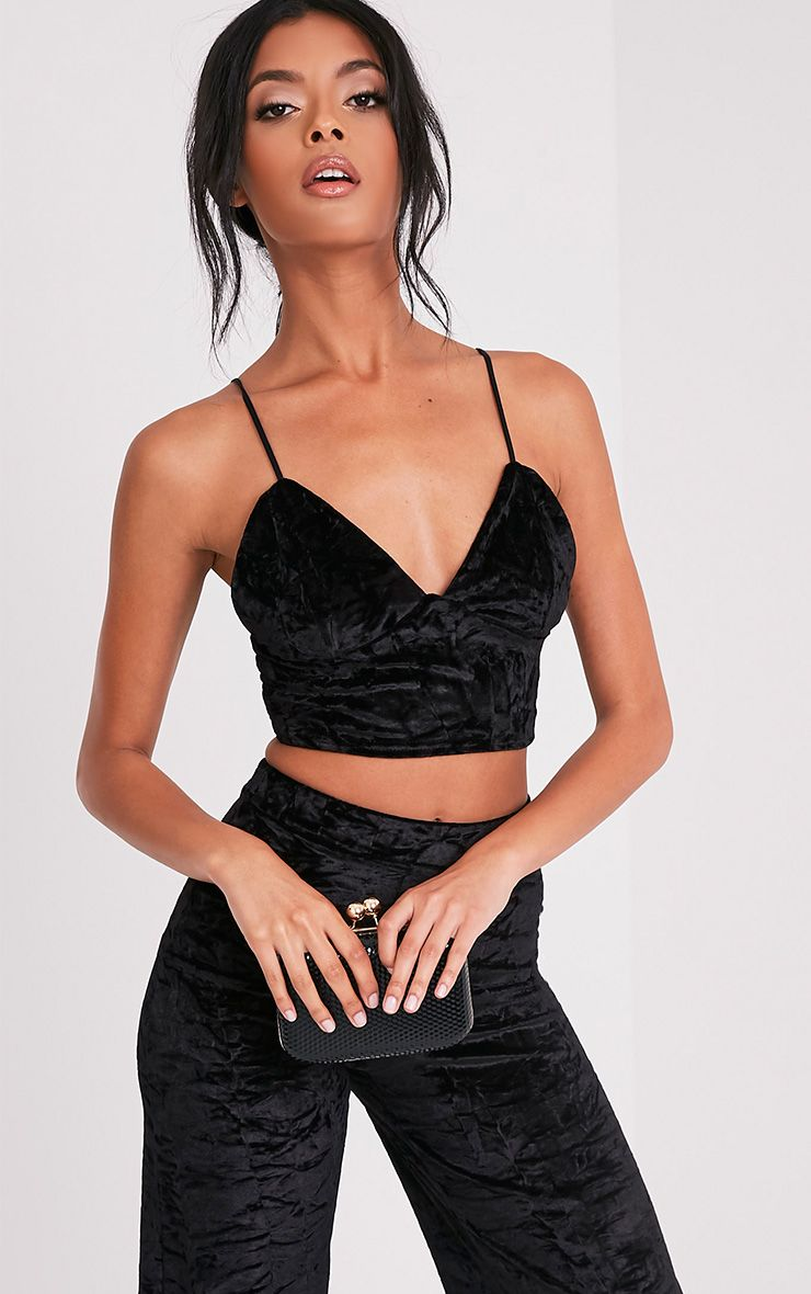 Jill Black Crushed Velvet Bralet