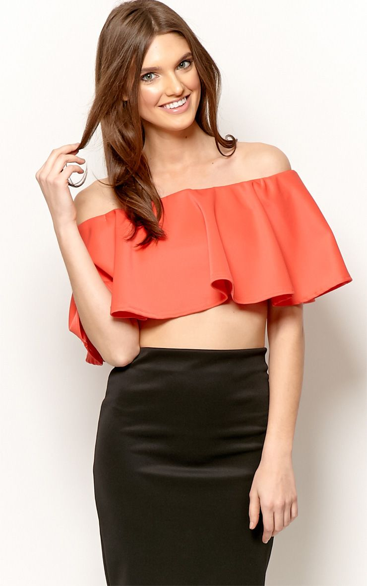 Allie Coral Frill Crop Top 1