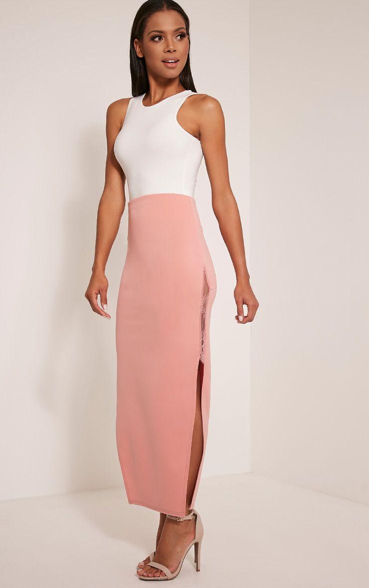 Shelly Blush Lace Split Maxi Skirt 1