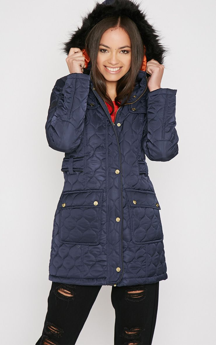 Dasia Navy Quilted Coat with Fur Collar  1