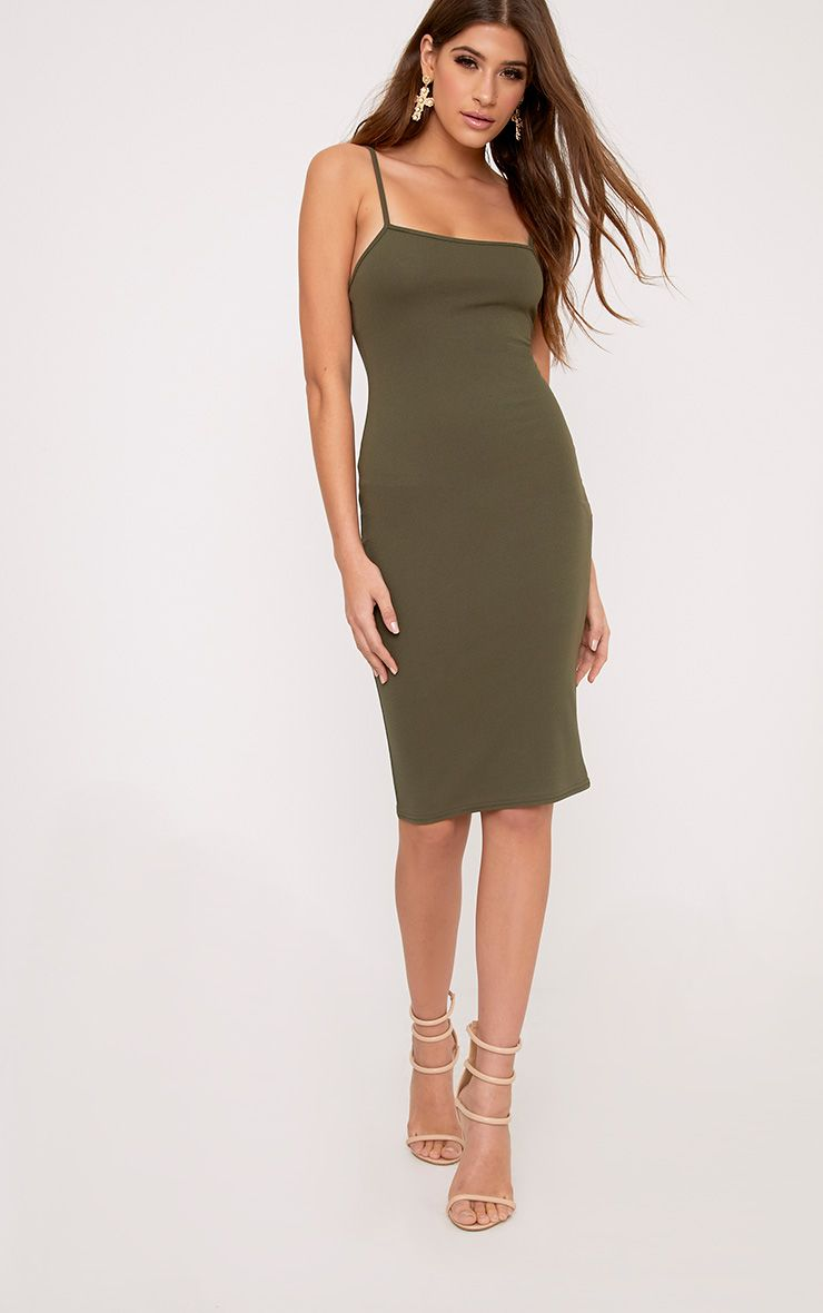 Lorah Khaki Square Neck Midi Dress