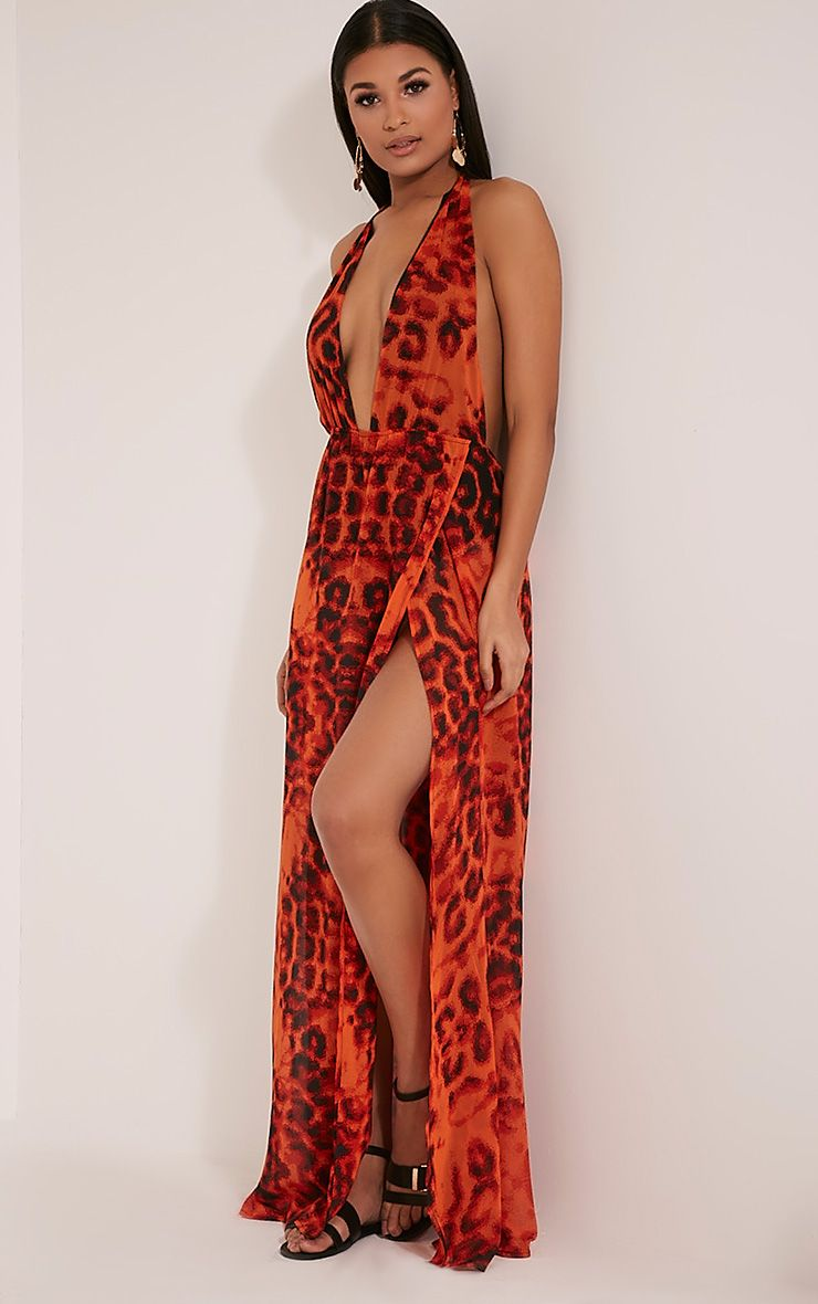 Alina Orange Leopard Print Plunge Maxi Dress