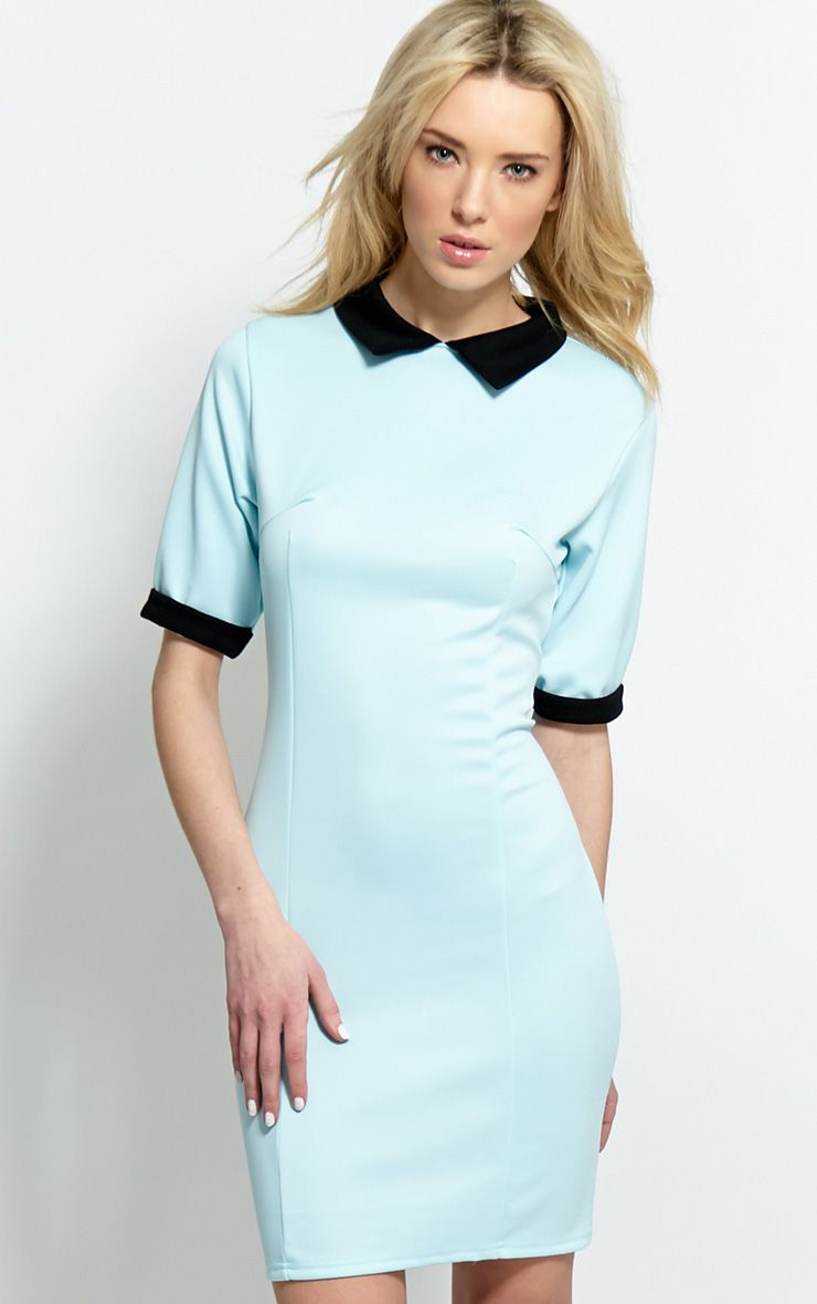 Katrina Baby Blue Collar Dress 1