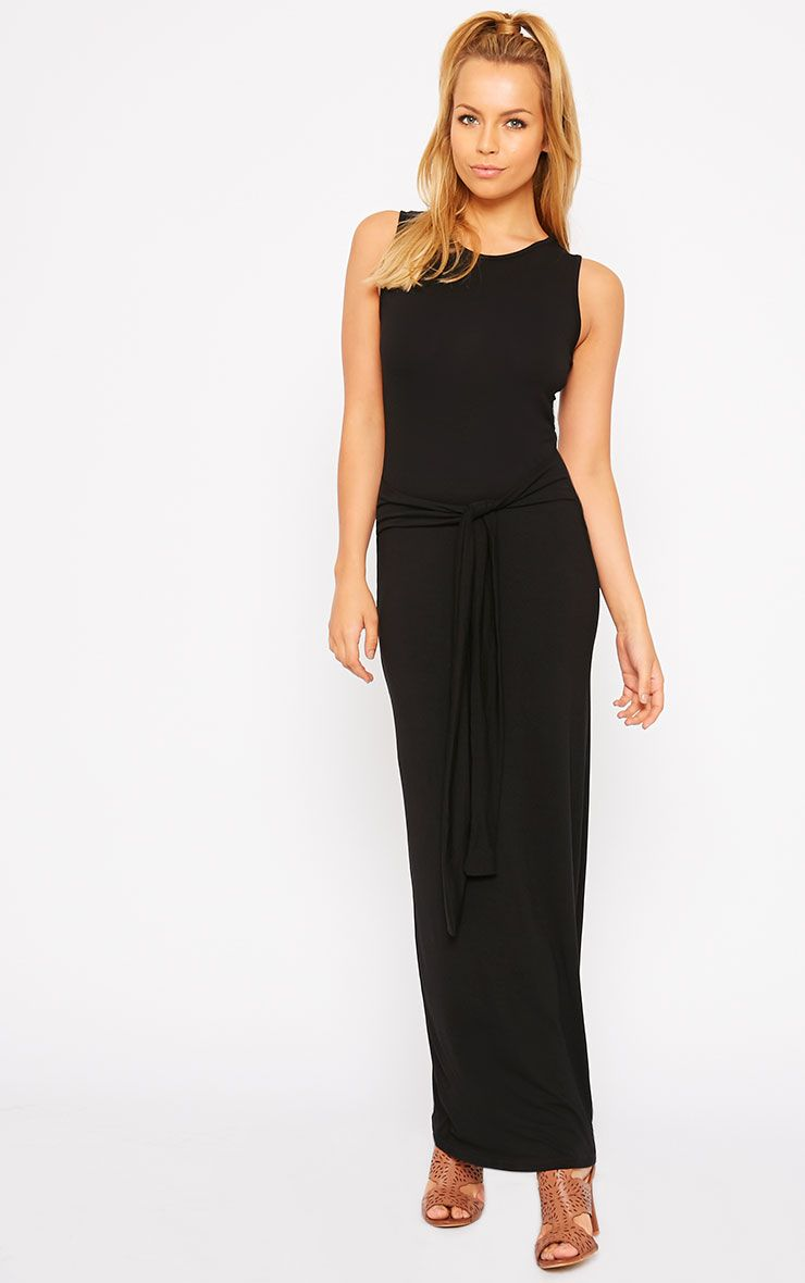Annie Black Tie Front Maxi Dress 1