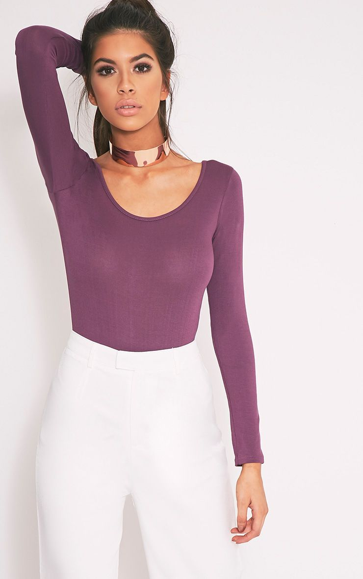 Aubergine Scoop Back Longsleeve Bodysuit