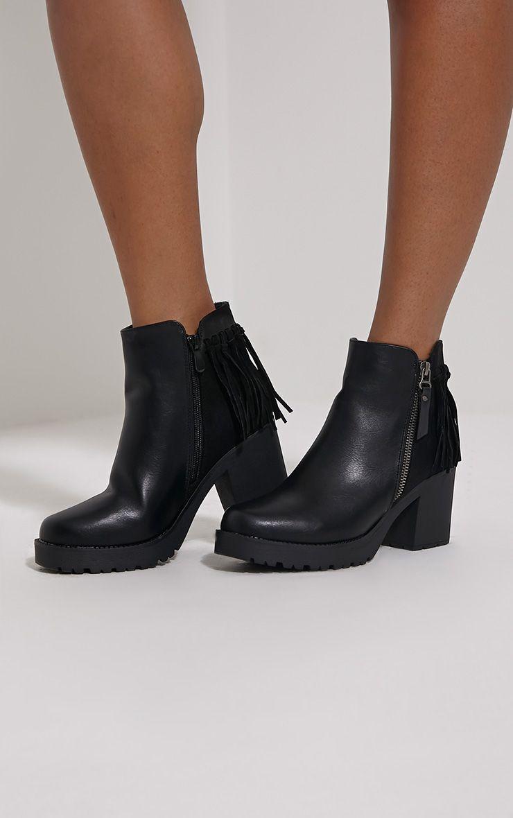 Juana Black Chunky Tassel Ankle Boots 1