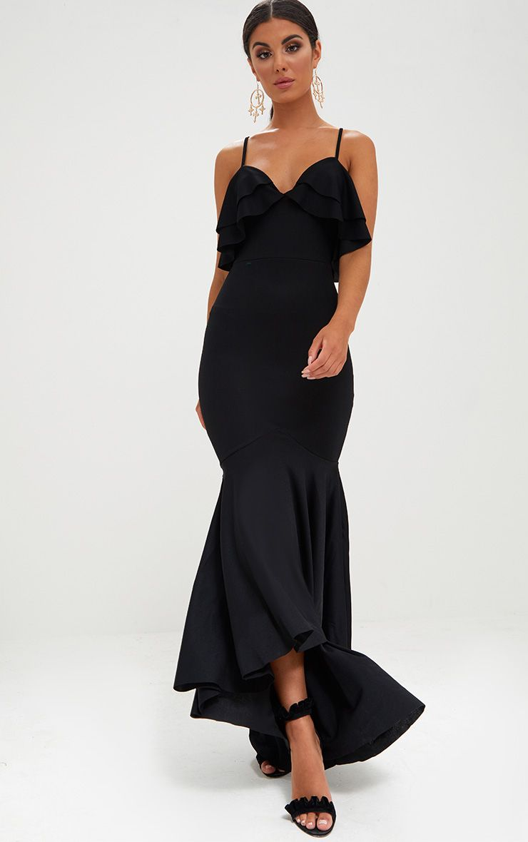 Black Strappy Frill Detail Fishtail Maxi Dress
