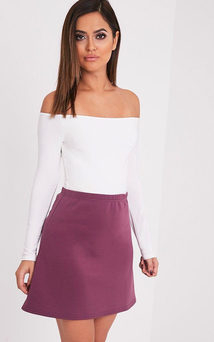 Jessica Aubergine A-Line Mini Skirt