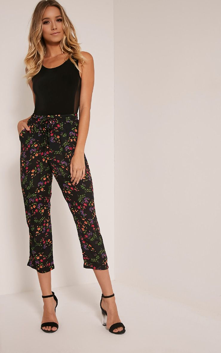 Diya Black Ditsy Floral Cropped Trousers