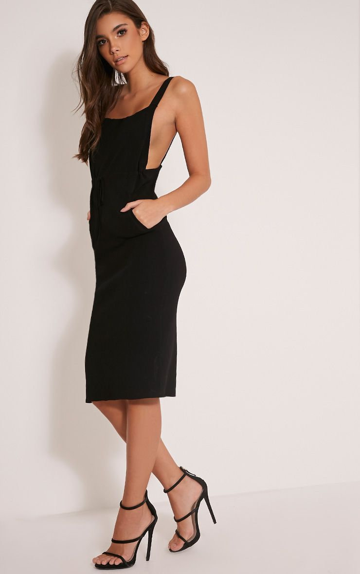 Aideen Black Knitted Pinafore Dress 1