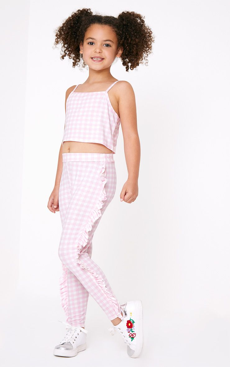 Gingham Ruffle Pink Leggings