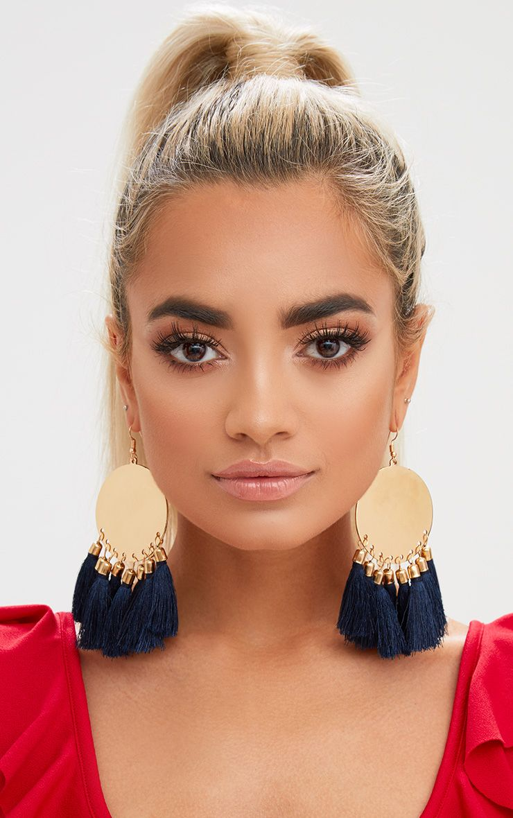 Navy Metal Plate Tassel Earrings