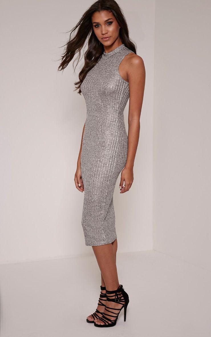 Kaicey Silver Turtle Neck Bodycon Midi Dress 1