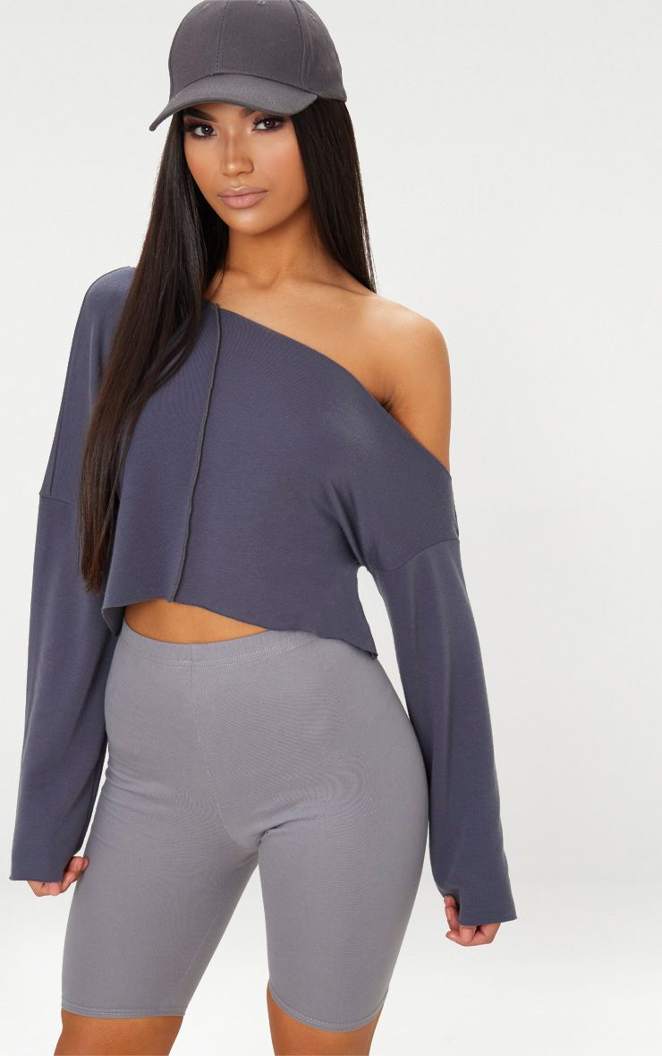 Charcoal Blue Off Shoulder Sweater
