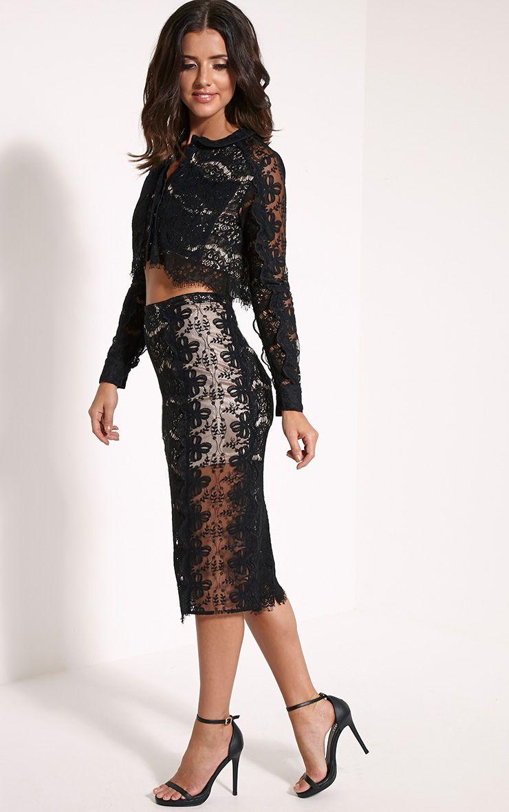 Ani Black Lace Midi Skirt 1
