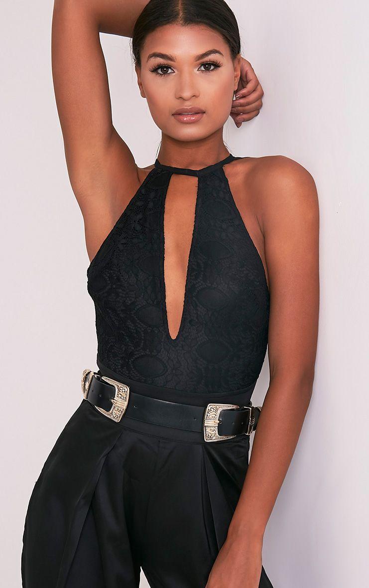 Aubery Black Lace Plunge Mesh Strap Thong Bodysuit