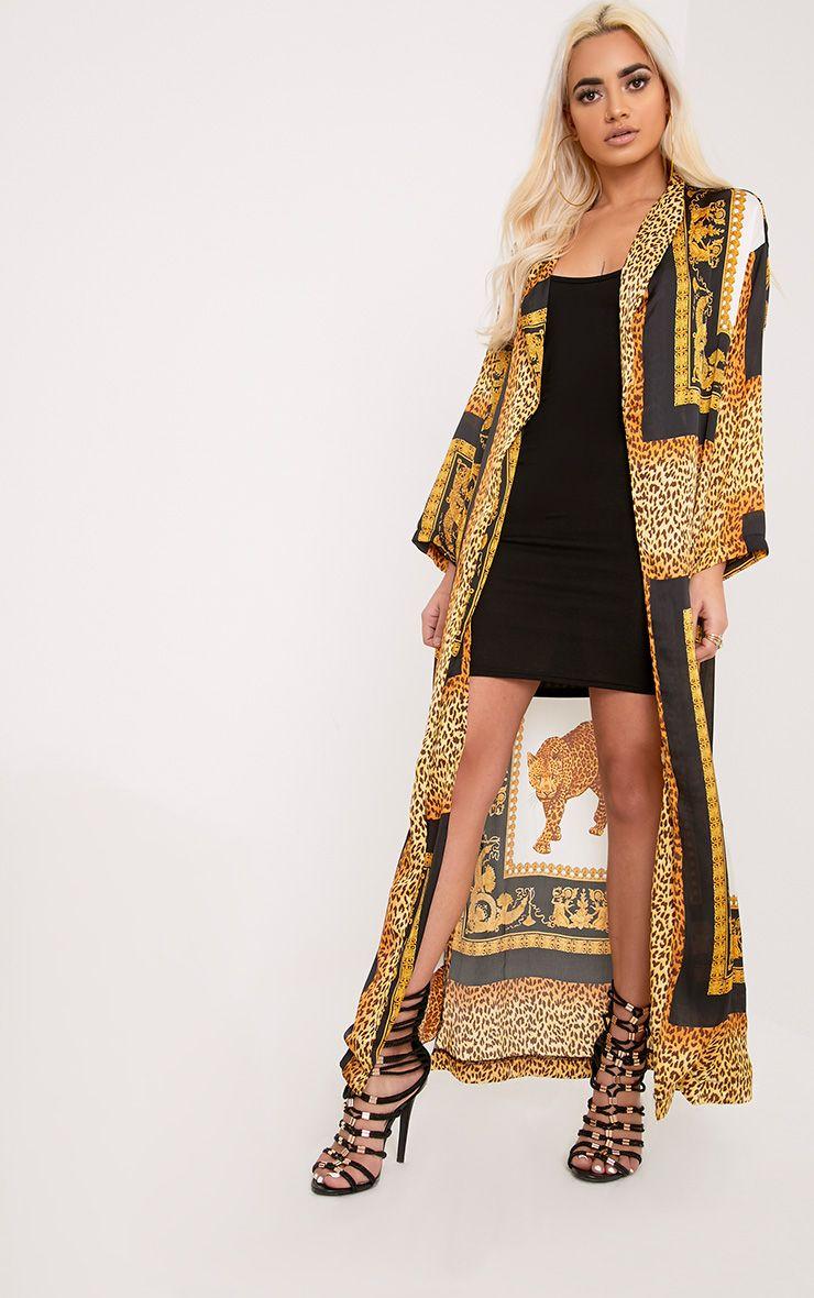 Gabrielle Multi Leopard Print Satin Maxi Duster Jacket