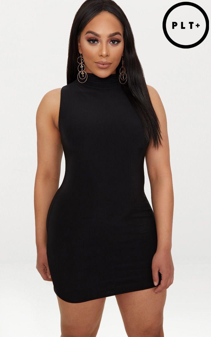 Plus robe moulante col montant seconde peau noire