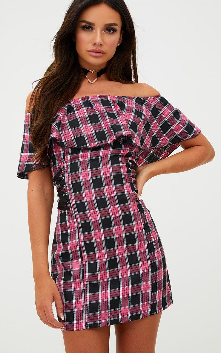 Pink Tartan Lace Up Bardot Bodycon Dress