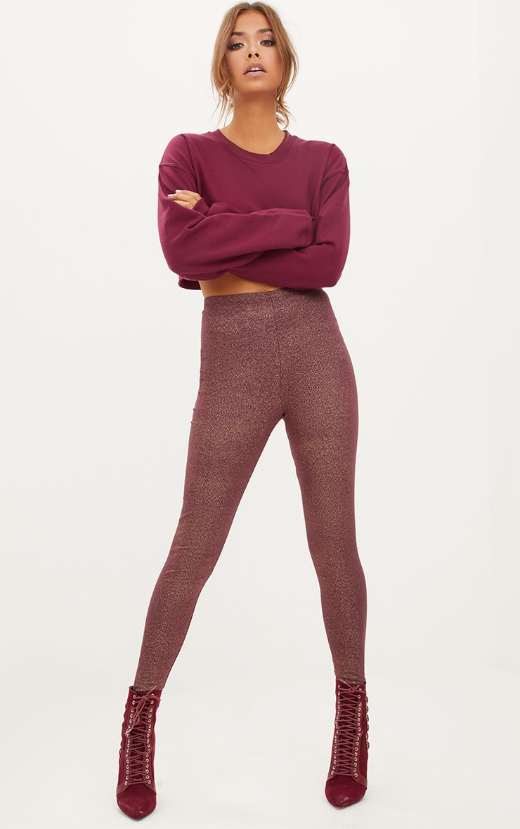 Burgundy Foil Speckle Leggings