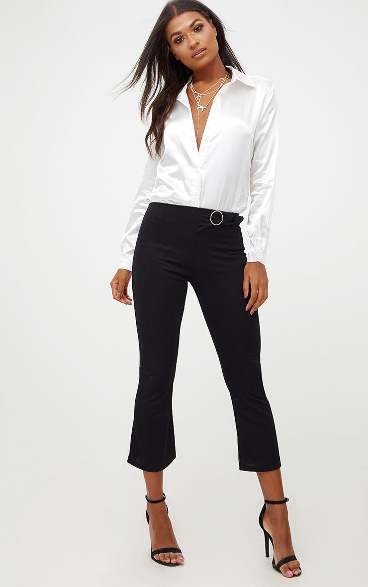 Black Ring Belt Detail Kick Flare Trousers