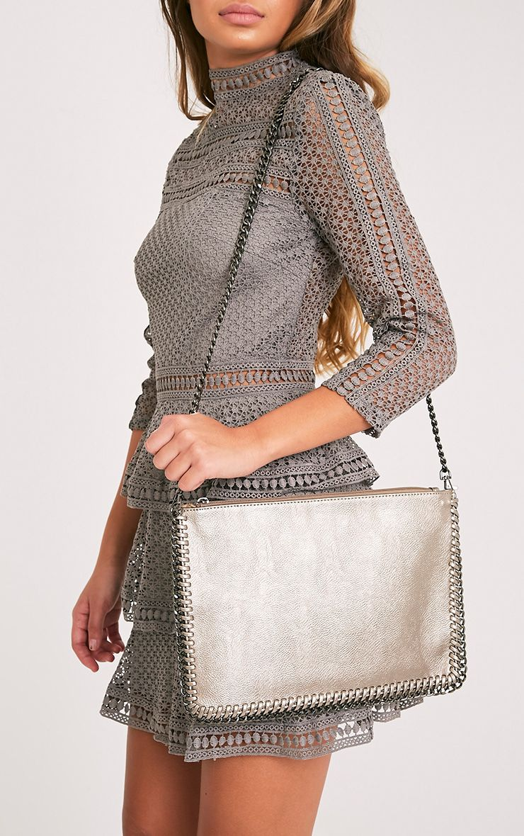 Wilfrie Pewter Oversized Chain Detail Bag   2