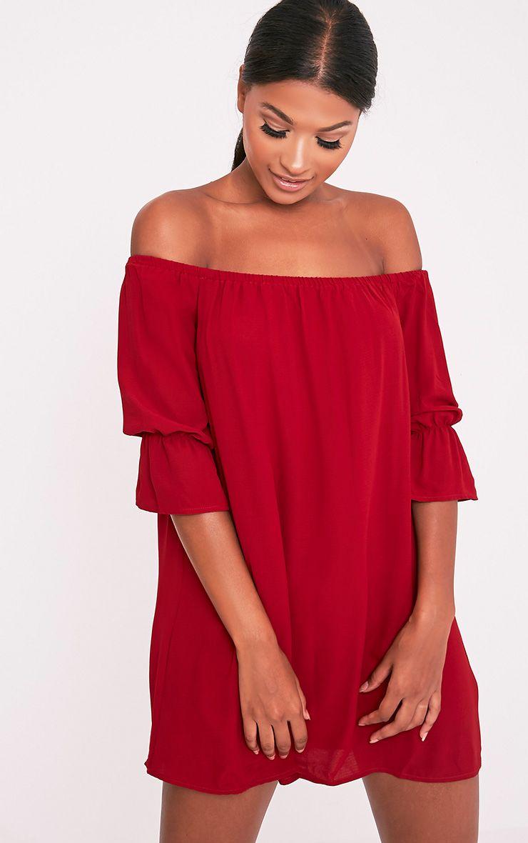 Shanaya Burgundy Long Frill Sleeve Bardot Shift Dress 1