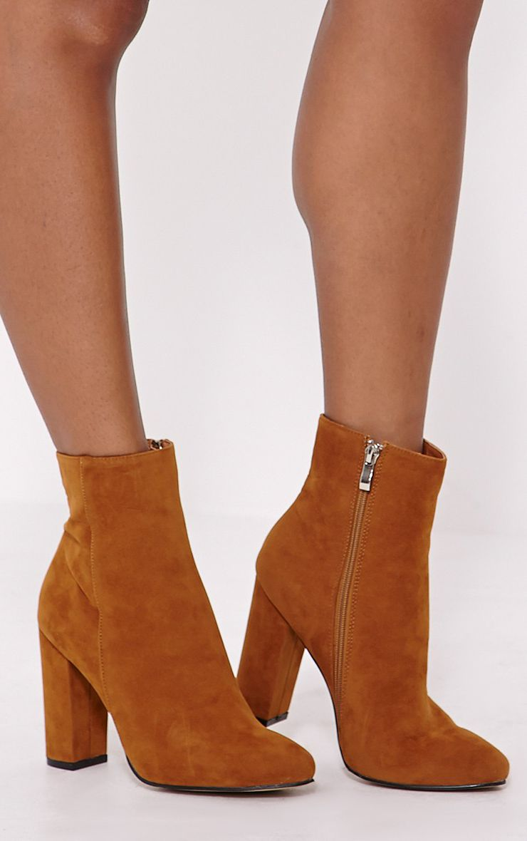 Behati Tan Faux Suede Ankle Boots 1