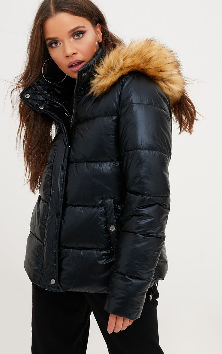 Black Foil Puffer Jacket With Faux Fur Hood