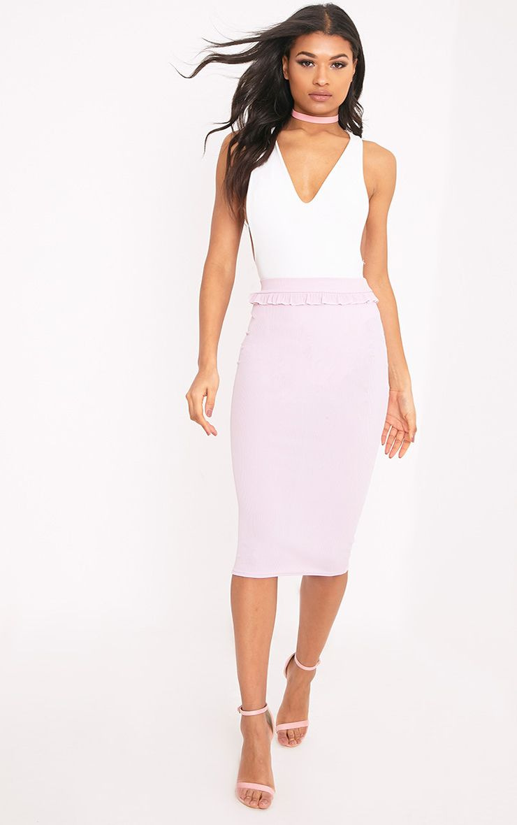 Kaiya Lilac Frill Waist Rib Midi Skirt