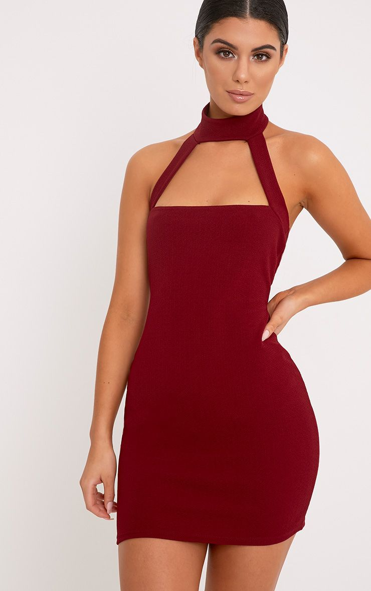 Corin Burgundy Strap Detail Bodycon Dress