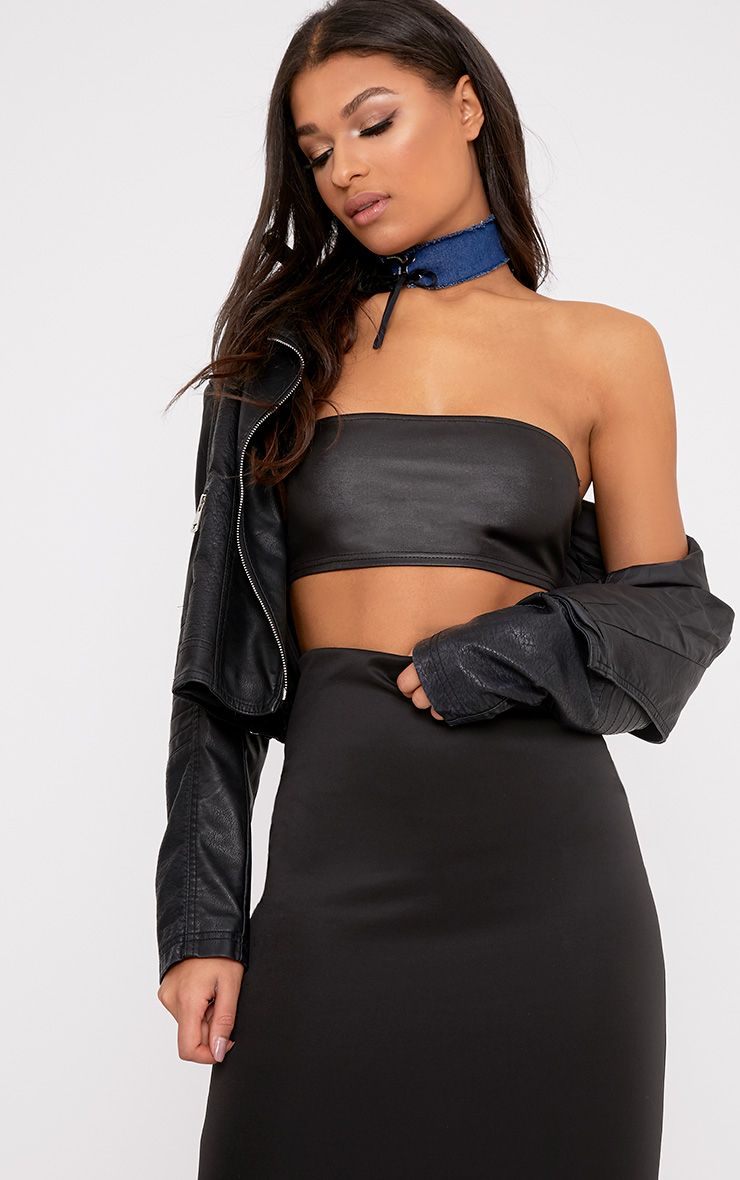 Cyndi Black PU Bandeau Crop Top
