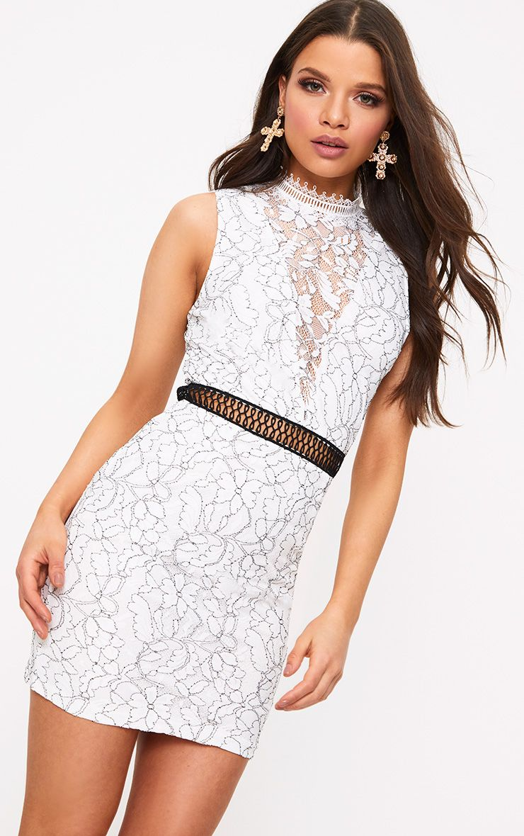 Ailisia White Lace High Neck Bodycon Dress