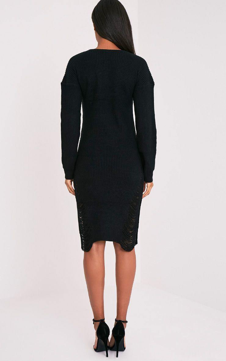 Kionae robe tricotée surdimensionnée effilochée noire 3