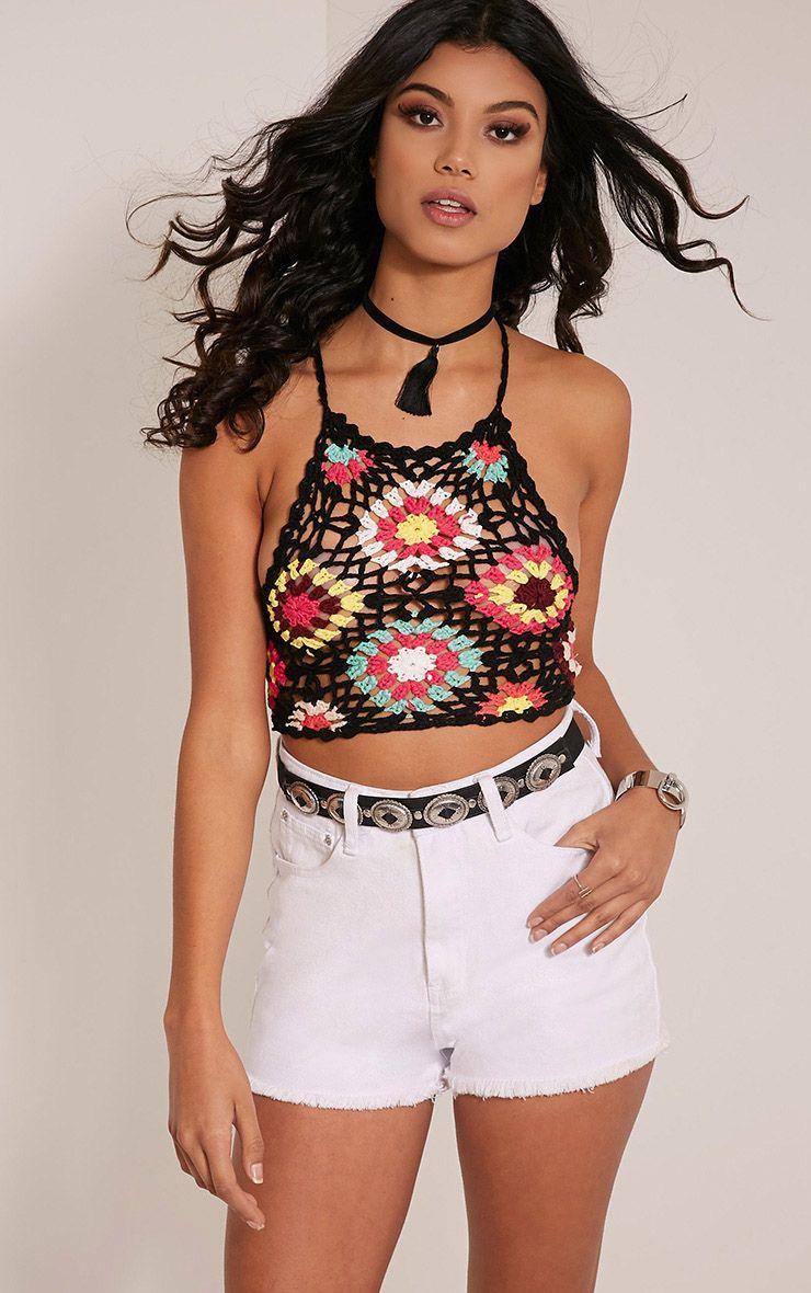 Maxina Black Patchwork Halterneck Crochet Knitted Top 1