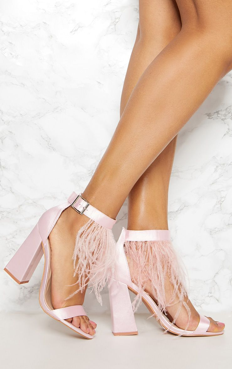 PRETTYLITTLETHING Feather Block Heel Sandal