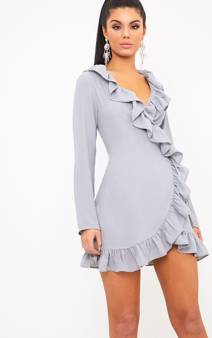 Neeko Ice Grey Frill Wrap Shift Dress