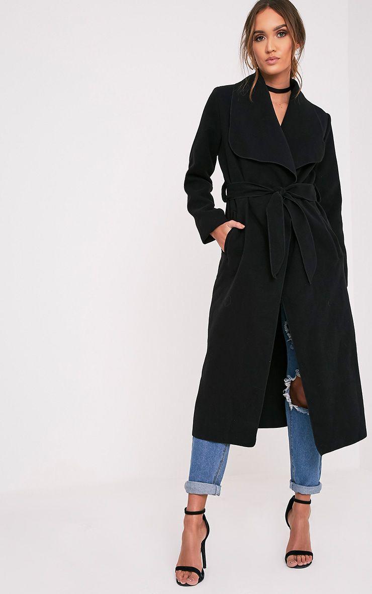 Veronica manteau effet cascade surdimensionné noir à ceinture